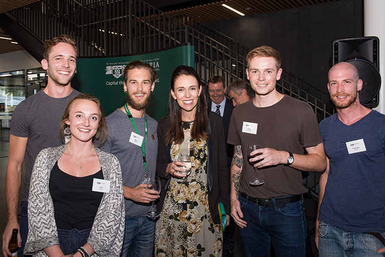 Five Victoria University students meet Prime Minister Jacinda Ardern at the opening of Victoria's Te Toki a Rata building.